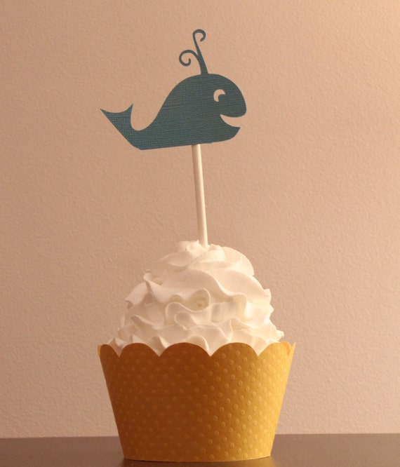 12 Blue Whale Cupcake Toppers