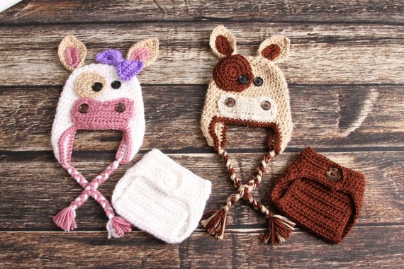 Handmade COW hat and DIAPER Cover 62c2de0ca1a