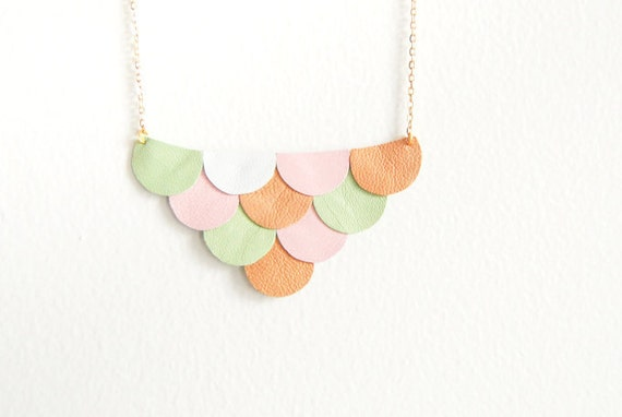 Leather Scallop Petals Necklace - Pastel Spring Garden - Made to Order