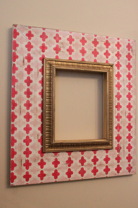 Pink and Hot Pink Antiqued Clover on Vintage White with Gold Large Etched Trim 8x10 Distressed Picture Frame