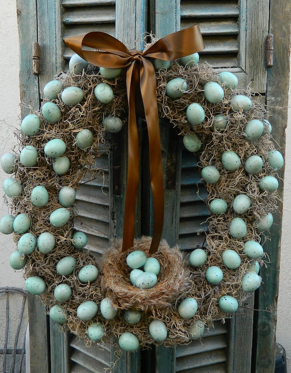 Door Wreath Spring Wreath Egg Wreath Easter Wreath Robins Blue Egg Wreath