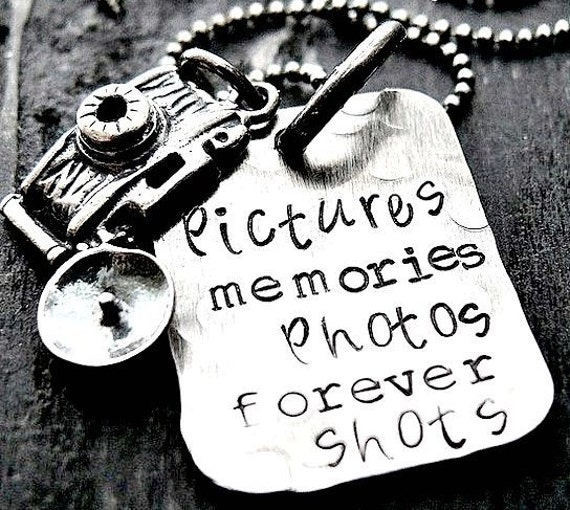 Hand Stamped Necklace - Camera Necklace - Rustic Rectangle - Sterling Silver - Antiqued Charms - Monogram Jewelry - Photographers Necklace