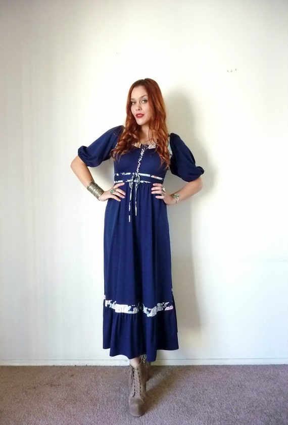 Vintage 70s Navy Blue POET SLEEVE Prairie Maxi Dress M