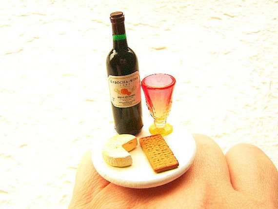 Wine Ring Kawaii Miniature Food Jewelry