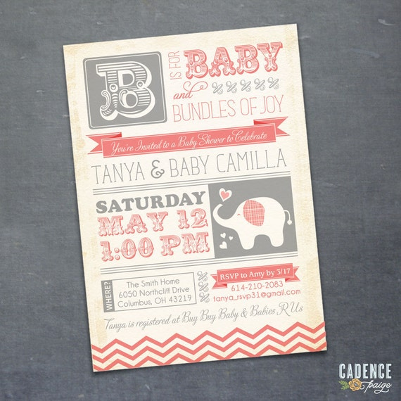 Baby Shower Invitation, Elephant Baby Shower, Vintage Baby Shower Invitation (PRINTABLE)
