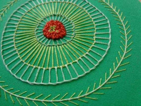 hoop art - hand embroidered freeform flower in 5 inch hoop by bo betsy - free shipping
