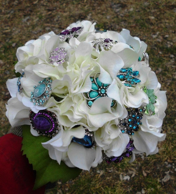 Custom Brooch Wedding Bouquet, Bridal, Rhinestones Crystals Fabric Flower Bouquet, weddings
