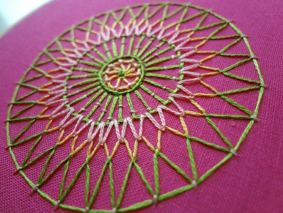 hoop art - hand embroidered freeform flower in 4 inch hoop by bo betsy - free shipping