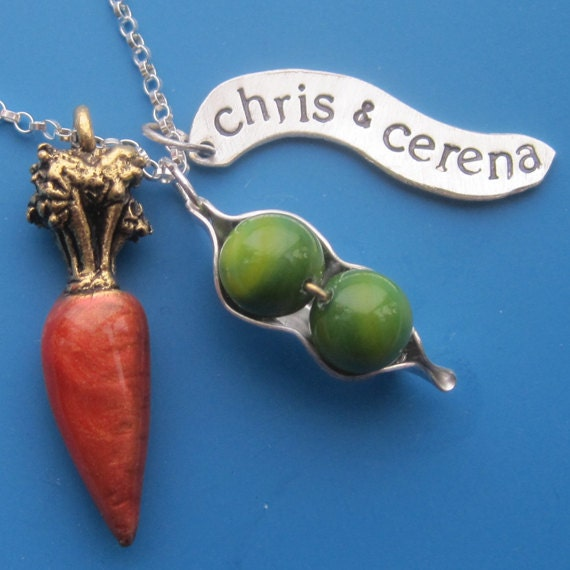 Peas and Carrots Charm Necklace