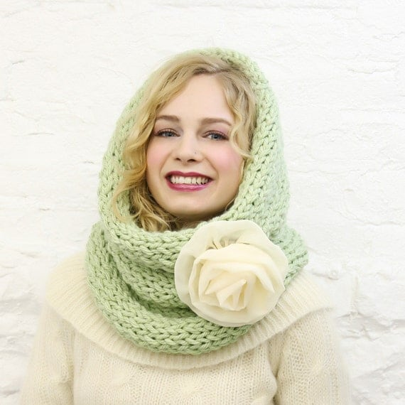 SALE Mint Green Large Infinity Scarf  with Ivory Chiffon Flower Ready to Ship