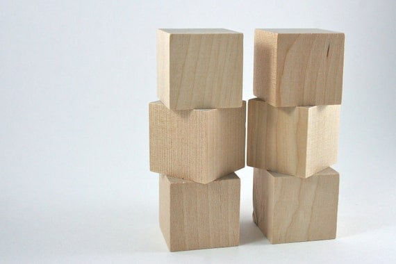 6 Unfinished Wood Blocks - 1.5 inches Wooden Block