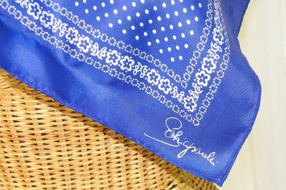Vintage Schiaparelli Designer Silk Rayon Scarf  Navy Blue White Polka Dots Glentex Exquisite Beauty and Condition on Etsy