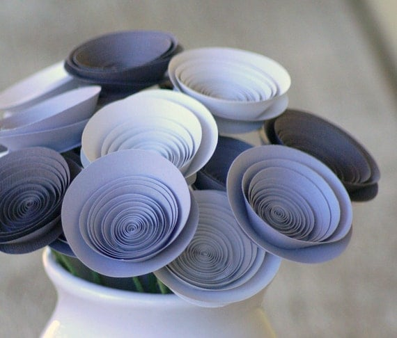 Handmade Flowers -- Paper Flowers in Cement, Grey, and Bone -- Modern Grey Centerpiece