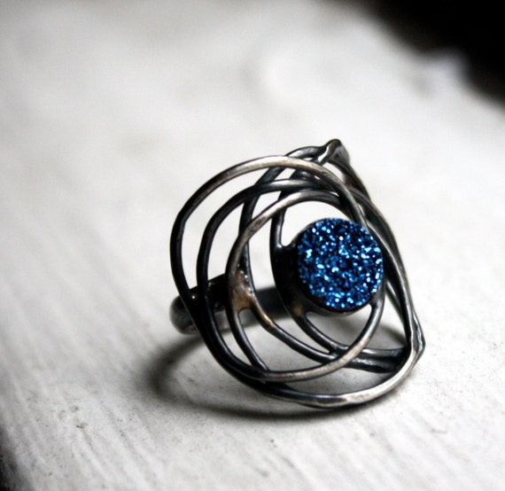 Blue Drusy Galaxy Ring- Handmade Sterling Silver