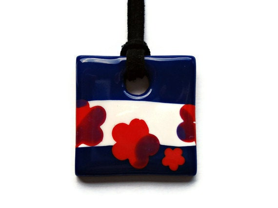 Square pendant  blue red and white by KireinaJewellery on Etsy |  Craft Juice