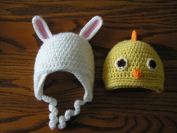 Bunny chick hats  for Easter baby infant to 18 - rabbit ears  - Select ONE hat of your choice