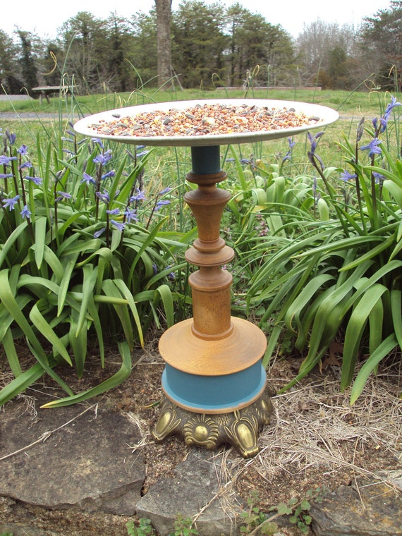 OOAK Bird Feeder from a recycled candlestick holder, metal plate, lamp base and found items