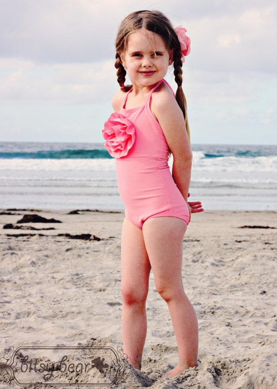 Coral Pink Halter Swimsuit for toddler and girl- READY TO SHIP