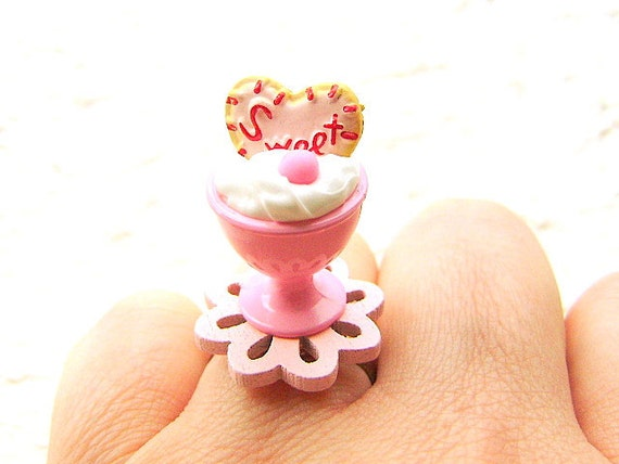 Kawaii Food Ring Ice Cream Cookie Miniature Food Jewelry