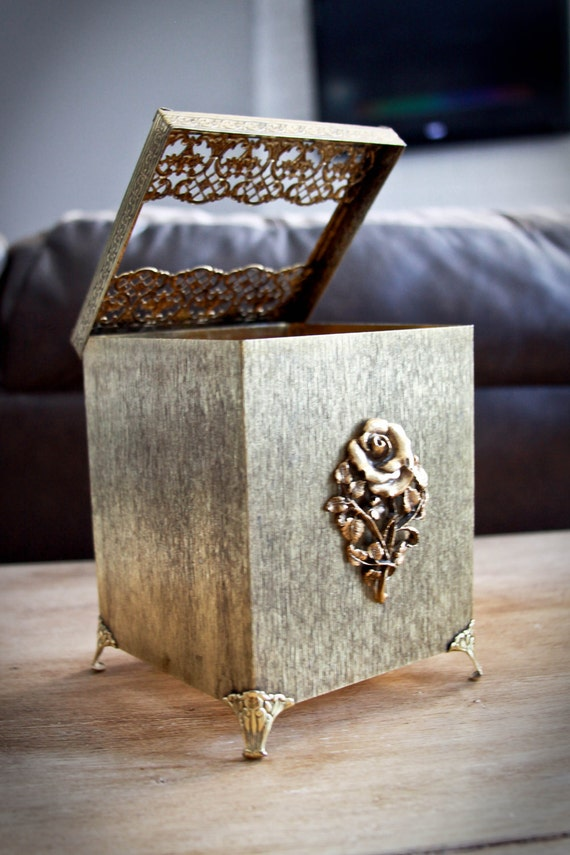 Vintage gold tissue box holder