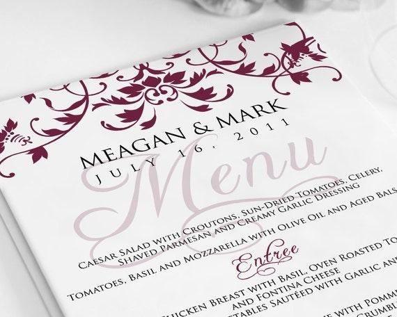 Wedding Menu Card - Organic Flourish - Digital File