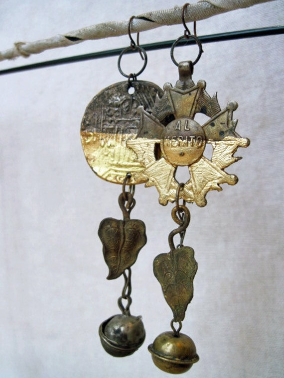 Marvels. Victorian Tribal Assemblage earrings with Gold Gilding.