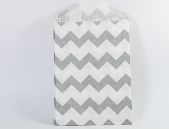 Small Grey Chevron Candy Bags - 20
