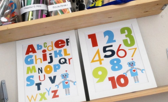 2 Robot Alphabet and Numbers Wall Print, 8 x 10, Robot illustration and Typography Wall Print Poster Boy Room