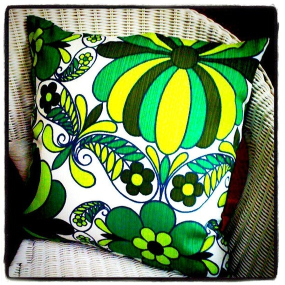 Vintage Retro Fabric Cushion - Green Flowers 1960s