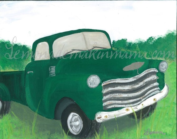 Old Green Truck print
