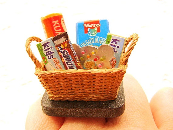 Kawaii Miniature Food Ring Sweet Gift Basket