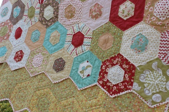 Quilt Hand Quilted Hexagon Quilt in Moda Whimsy collection