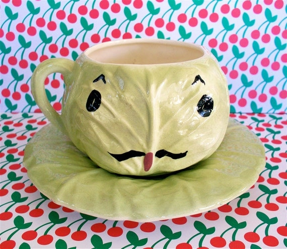 Vintage  Kitsch Cleminson of California Head of the House Cabbage Cup and saucer  with Mustache