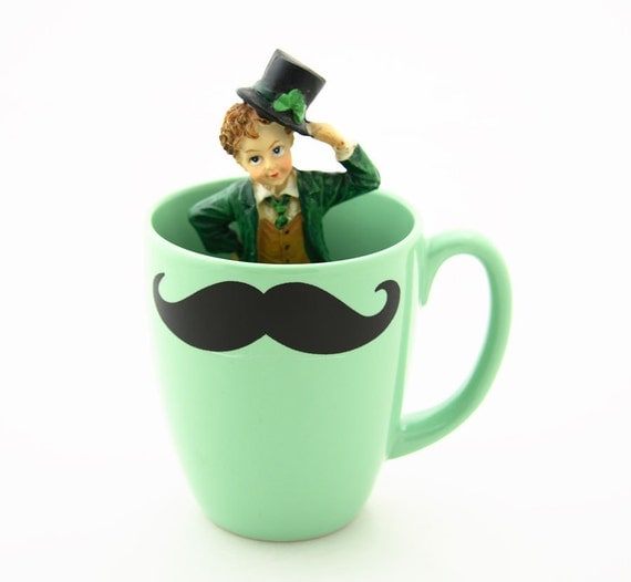 St Patricks Day Mustache Moustache Mug Irish Green Double Sided Kiln Fired