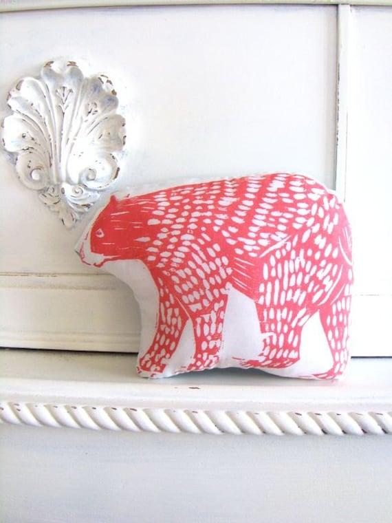 Plush Bear Pillow in Pink. Woodblock Printed.