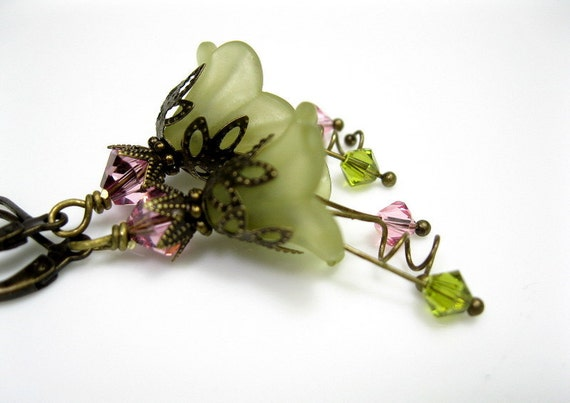 Pink, Green, Vintage Style, Flower Earrings