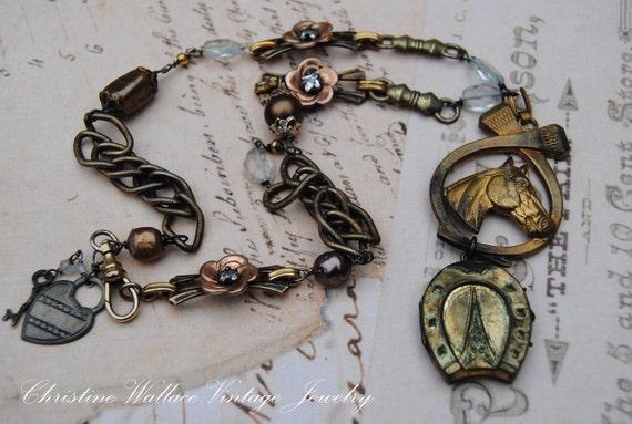 Американская война лошадь - Vintage Сборка Art Deco медальон латуни Rhinestone Жемчужное ожерелье