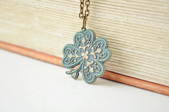 Shamrock Necklace - St. Patrick's Day, Clover Necklace, Aged Patina, Verdegris, Irish, Lucky Charm