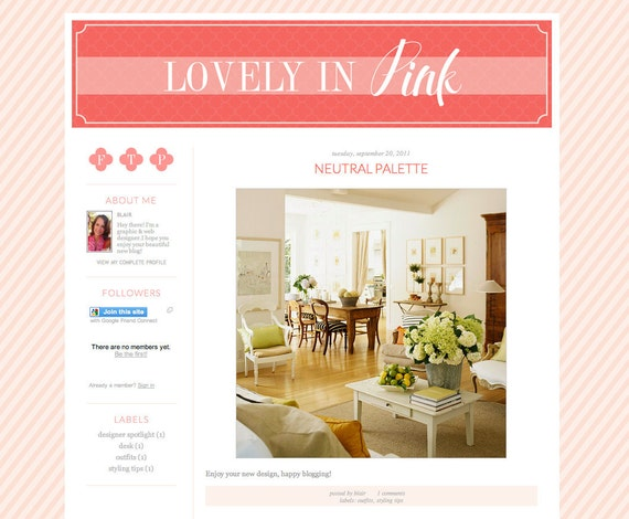 Premade Blog Design: Lovely in Pink