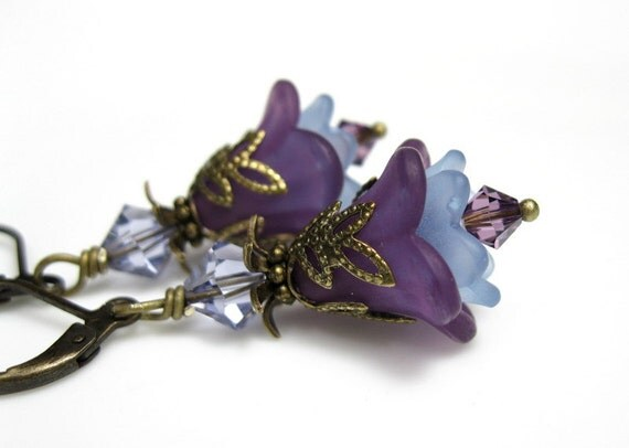 Lilac, Lavender, Swarovski, Vintage Style, Flower Earrings