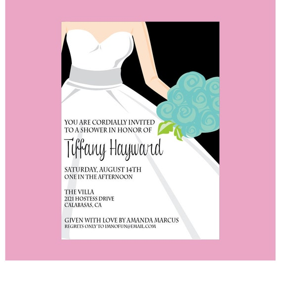 Bride in Tiffany Co Wedding Dress Shower Invitation 199 USD