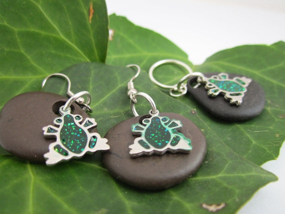 Sparkly Green and Silver Frog Charms with Deep Brown Lake Michigan Beach Stones Earring and Pendant Set