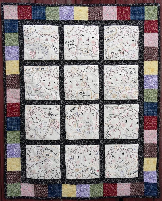 Raggedy gals quilt e pattern - 12 months seasonal stitcheries primitive pdf embroidery ann doll cat bunny crow