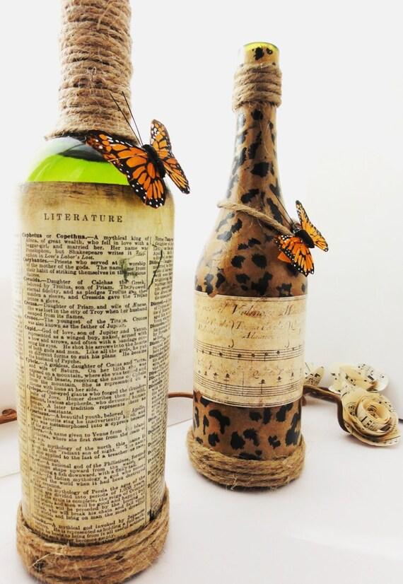 Ферма Таблица центр шт, Vintage ваза бутылка с Leopard для печати, бабочка и старый итальянский Music Label