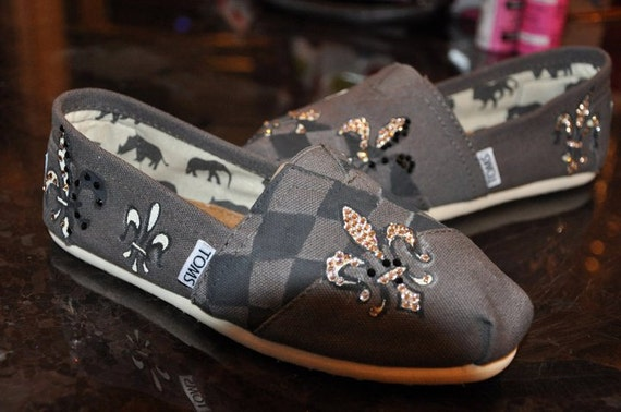 Custom Designed Fleur De Lis TOMS Shoes