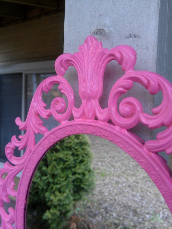 Fairy Princess Mirror - Ornate Vintage Frame in Bubble Gum Pink - 13 by 10 inches