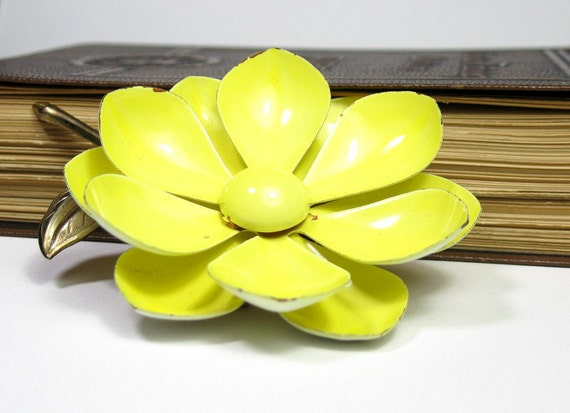 Vintage, Yellow, Magnolia, Flower, Brooch, 1960s