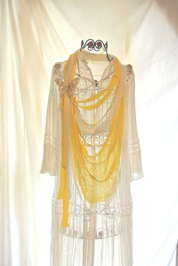 Бабочка Биб ожерелье, колье желтый заявление, страна шик, потертые ленты ожерелье, Пасха Ювелирные