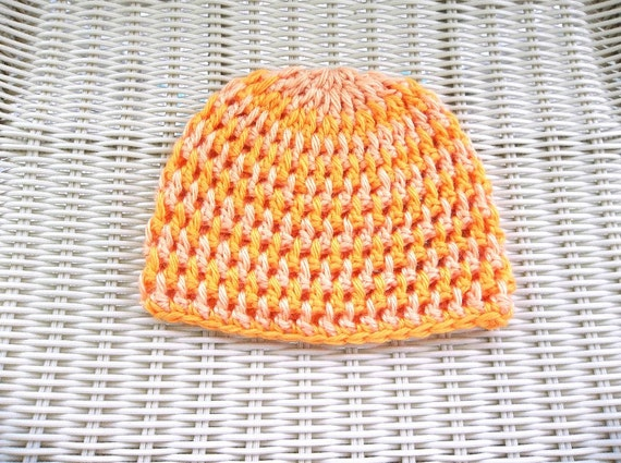 Crocheted Newborn Beanie Hat Orange, Peach