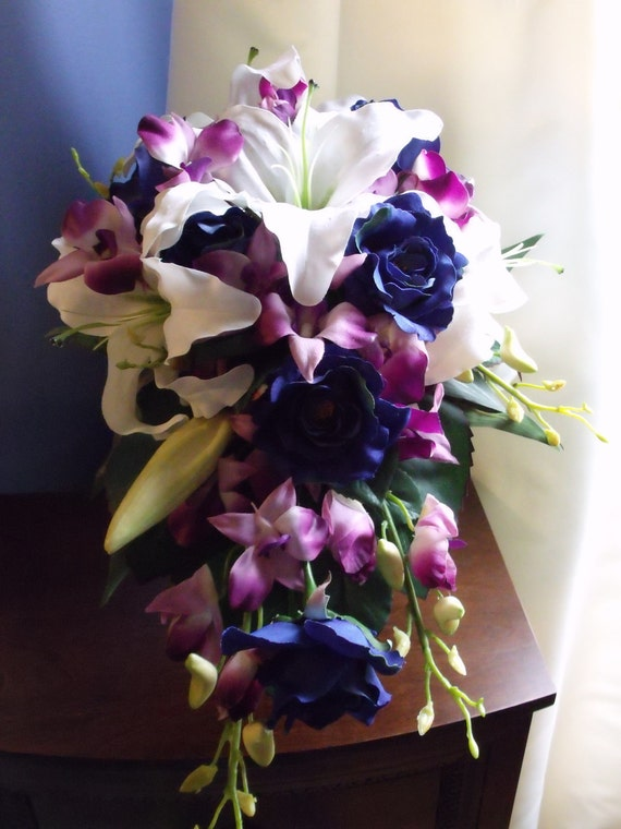 Bridal package blue roses purple orchids and white lilies